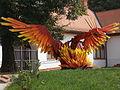 Phoenix statue. Fönix Workshop House. - Fürdő street, Jászberény, Hungary.JPG