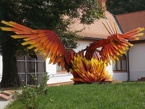 Phoenix statue. Fönix Workshop House. - Fürdő street, Jászberény, Hungary