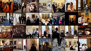 A photo mosaic assembled by the White House Ph...