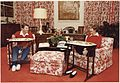 Photograph of The Reagans eating on TV trays in the White House residence - NARA - 198525.jpg