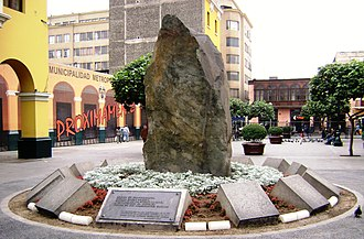Lima Province - Andean Mountain basal stone monument in Lima, Peru.