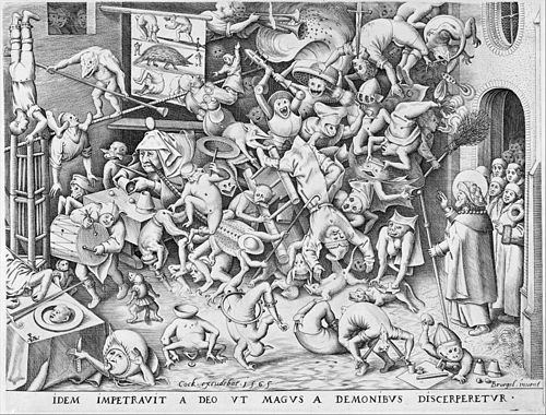 A heavily detailed black-and-white printed drawing of a room filled with demon-like beings. A magician stands to the right, hand aloft and carrying a long rod.