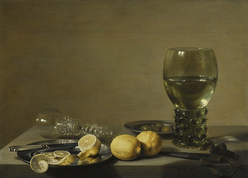 Pieter Claesz, Still Life with lemons and olives, 1629, private collection. Wikimedia Commons (public domain).