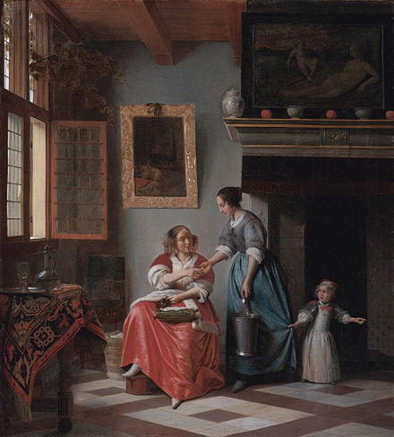 Woman giving Money to a Servant-Girl (1670) Pieter de Hooch - Woman hands over money to her servant - 1670.jpg