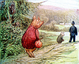 The Tale of Pigling Bland - Pigling Bland watches as a policeman takes his brother Alexander away, leaving him on his own.