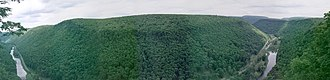 Pine Creek (Pennsylvania) - Pine Creek Gorge Panorama from the West Rim Trail in Tioga County, Pennsylvania