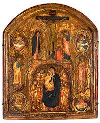 A crucificação e a Virgem com o Menino Jesus entre anjos, santos e os símbolos dos evangelista