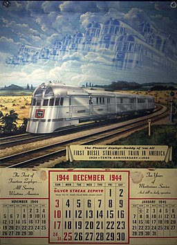 Pioneer Zephyr 1944 calendar