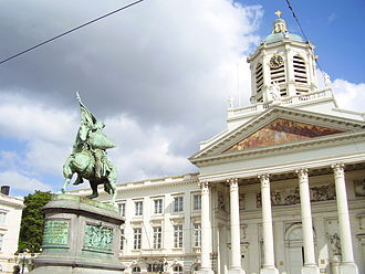 Place Royale (Brussels) - The statue of Godfrey of Bouillon erected in the middle of Place Royale