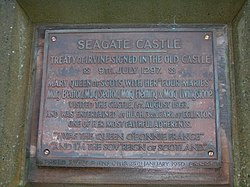 Photo of Mary Stuart, Hugh Montgomerie, and Seagate Castle bronze plaque