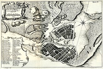 Timeline of Cartagena, Colombia - 1735 city map.
