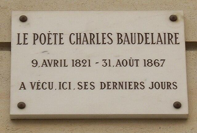 Plaque Charles Baudelaire, 1 rue du Dôme, Paris 16.jpg