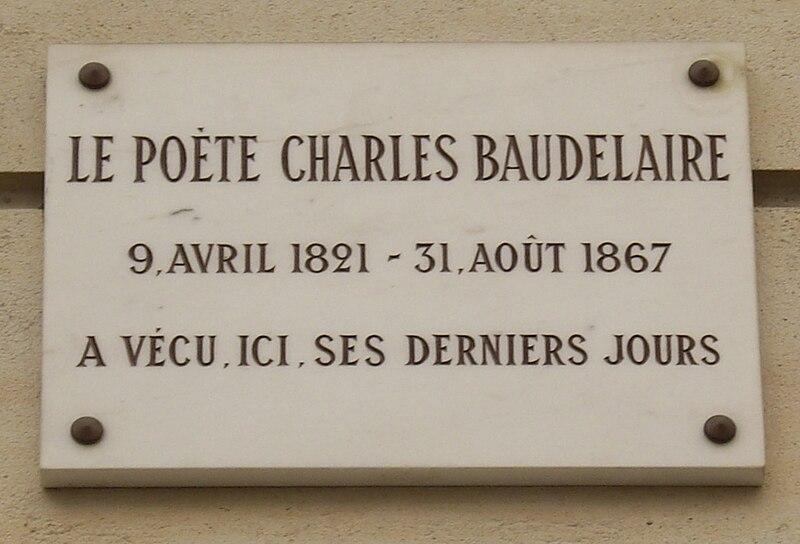 File:Plaque Charles Baudelaire, 1 rue du Dôme, Paris 16.jpg