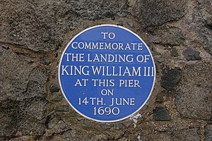 Carrickfergus - A plaque at the harbour commemorates the landing of William of Orange in the town in 1690.