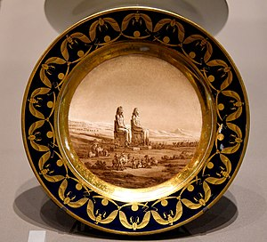 Adolphe-Théodore Brongniart - Plate showing statues of Amenhotep III at Luxor, Egypt. Commissioned by Napoleon as a present to Josephine but she rejected it. From France. The Victoria and Albert Museum, London
