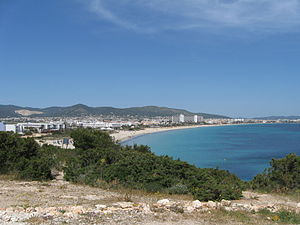 Platja d'en Bossa - Platja d'en Bossa beach  looking North towards Ibiza Town