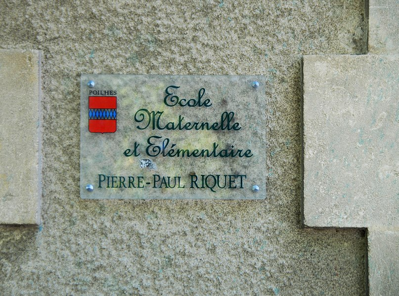 School named after Pierre-Paul Riquet, canal-builder responsible for the construction of the Canal du Midi, Poilhes, Hérault, France