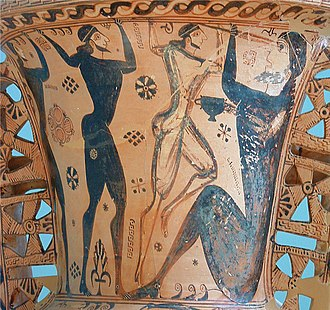 Polyphemus - Amphora painting of Odysseus and his men blinding Polyphemus (Eleusis museum)