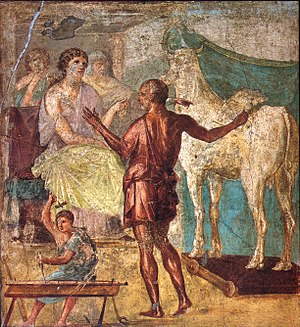 Pasiphaë - Daedalus presents the artificial cow to Pasiphaë: Roman fresco in the House of the Vettii, Pompeii, 1st century CE.