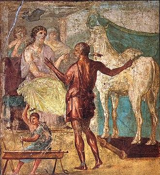 Pasiphaë - Daedalus presents the artificial cow to Pasiphaë: Roman fresco in the House of the Vettii, Pompeii, 1st century CE.