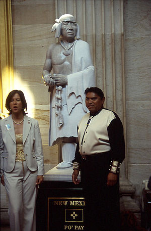 National Statuary Hall Collection - Sculptor Cliff Fragua, right, poses at the unveiling and dedication of the Po'pay statue in September 2005. The statue is the 100th in the collection.