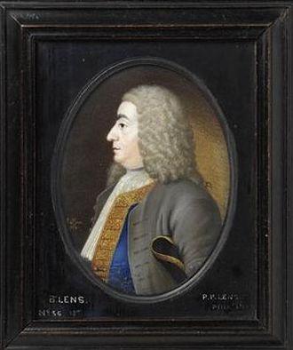 Bernard Lens III - A portrait of Bernard Lens III by his son Peter Paul Lens. Around 1734.