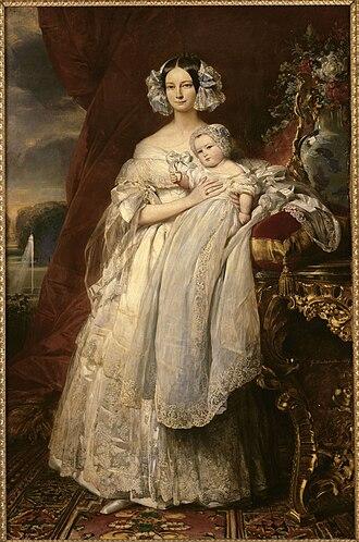 Ferdinand Philippe, Duke of Orléans - The Duchess of Orléans holding her son, Philippe, Count of Paris. Portrait by Franz Xaver Winterhalter, 1839. Château de Versailles.