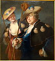 Portrait of a couple with pilgrim cloaks, school of Alexis Grimou, oil on canvas - Villa Vauban - Luxembourg City - DSC06455.JPG