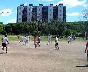 Villa miseria - Improvised football match in a FONAVI development in Villa Lugano, Buenos Aires. The agency has put up over a million housing units since 1972.