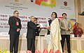 """Pranab Mukherjee presenting the Rajat Kamal Award for Best Short Fiction Film """"Towards the Silver Lining"""", in Non Feature Films Section, to the Producer, Athaansh Communications, Rep Ms. Meghana Jadhav.jpg"""