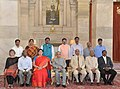 Pranab Mukherjee with the awardees of the Presidential Awards for Classical Tamil 2011-2012 & 2012-2013, at Rashtrapati Bhavan, in New Delhi. The Union Minister for Human Resource Development.jpg