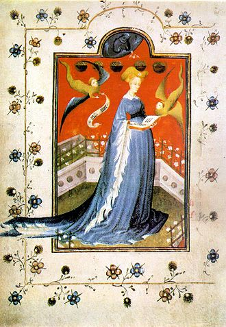 Houppelande - Image: Prayer book of Maria d'Harcourt Staatsbibliothek zu Berlin Ms Germ Quart 42 f 19v