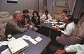 President Clinton meeting with advisers on Air Force One.jpg
