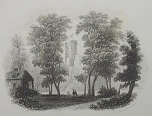 Philippe d'Auvergne - The Prince's Tower, d'Auvergne's gothic residence, as depicted by Philip John Ouless in 1855