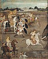 Prince Awrangzeb (Aurangzeb) facing a maddened elephant named Sudhakar (7 June 1633) - left panel.jpg