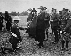 Hamilton Gault - Princess Patricia inspecting the regimental flag in 1919