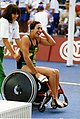 Priya Cooper after Barcelona 1992 Paralympic race.jpg