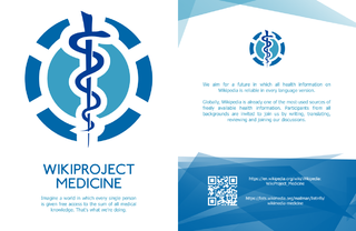 The image shows a small leaflet outlining the work of WikiProject: Medicine