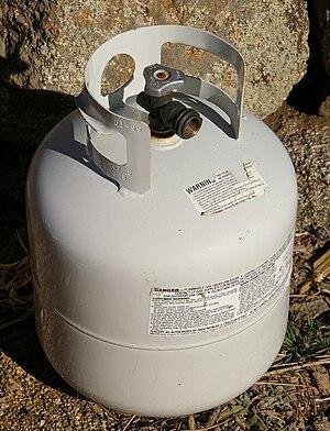 A standard 20lb propane tank.