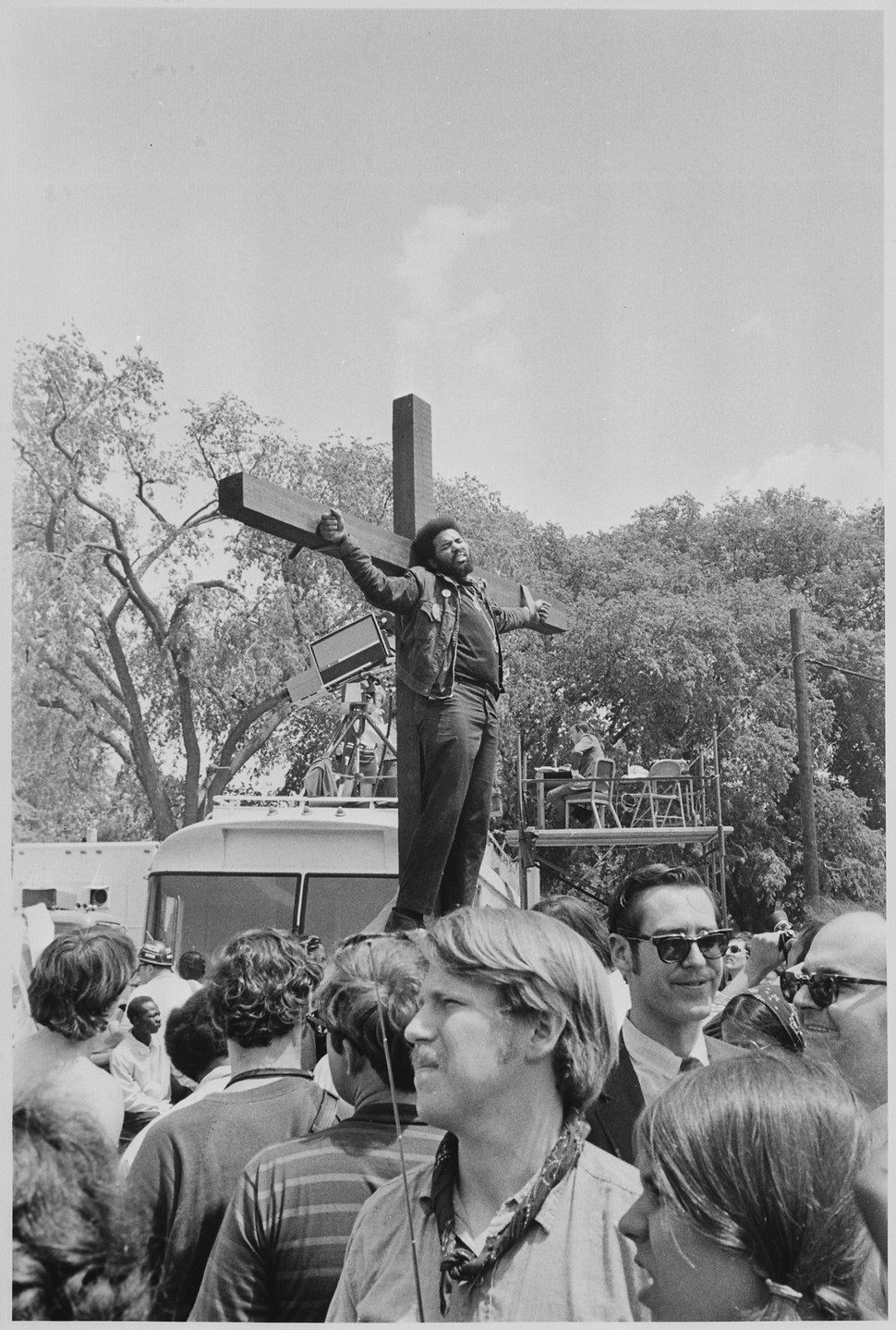 Protester tied to a cross in Washington D.C - NARA - 194675