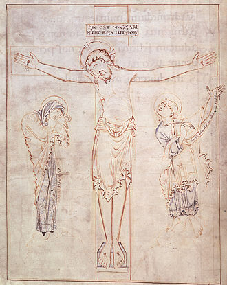 Anglo-Saxon reliquary cross - Ramsey Psalter, tinted drawing of the Crucifixion, f.3v