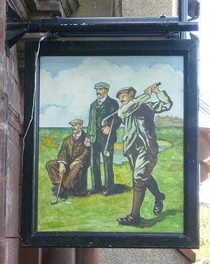 History of golf - Pub sign on the Golf Tavern on Bruntsfield Links, 2011