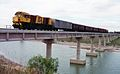 QR loco 1740 hauls a special train over the new Styx River bridge, ~1991.jpg