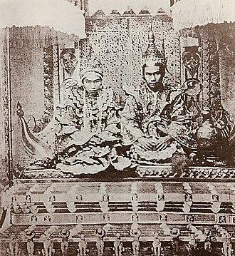 Thibaw Min - King Thibaw and Queen Supayalat on the Lion Throne (Palin) at Mandalay Palace