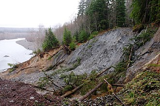 Queets River - Landslide on the Queets River Road, in the winter of 2006. The road has since been rerouted.
