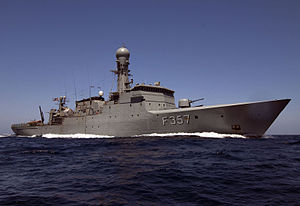 English: Danish navy ocean patrol vessel F357 ...