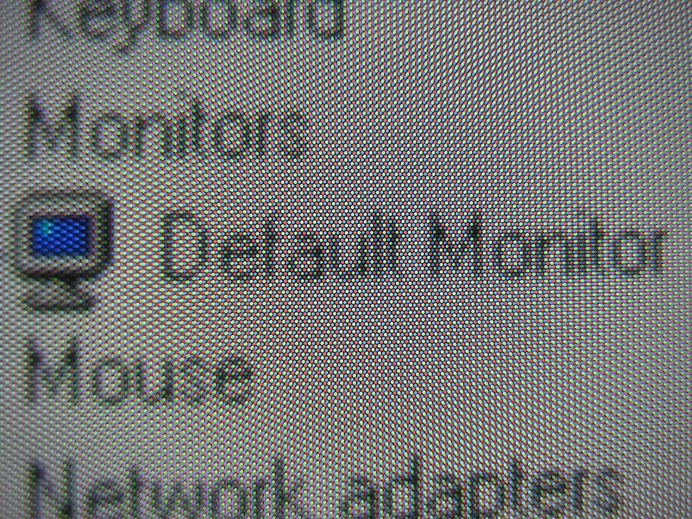 RGB pixels on a CRT monitor