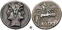 Didracma romana recante l'effigie di Giano. Circa 220 a.C.