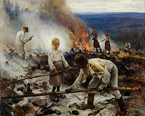 Slash-and-burn - Painting by Eero Järnefelt of forest-burning