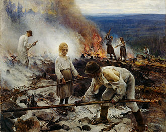 Forest Finns - Painting by Eero Järnefelt showing forest burning